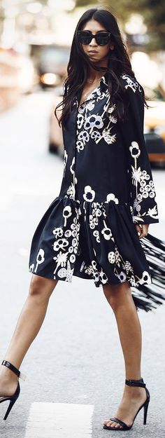 Not You Standard Black And White Floral Little Dress Fall Inspo                                                                             Source