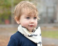 Organic Moustache Scarf - Eco Friendly Winter Kids Accessory - Black and White Cotton Knit Toddler Boys Tube Scarf. $22.00, via Etsy.
