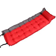 Single Self Inflating Camping Roll MatPad Waterproof Inflatable Sleeping Mattress RedGray *** Details can be found by clicking on the image.(This is an Amazon affiliate link and I receive a commission for the sales)