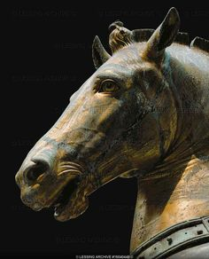 bronze horse head of San Marco, Venice. the mostly copper ones inside now. copies are out side now. from before 1200 bc