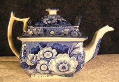 Antique Staffordshire Medium Blue Floral Botanical Transferware Teapot | eBay