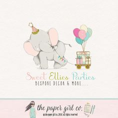 party logo elephant logo bunting logo balloon by ThePaperGirlCo