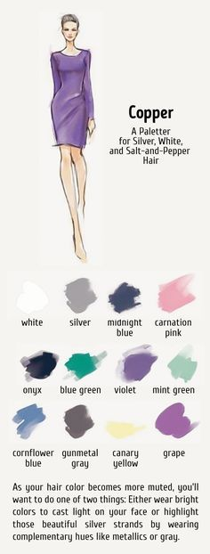 12 ideal color combinations for your hair and clothes (I have no idea why it's titled Copper, which is a big no for the cool toned)