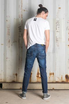 Crafted from medium blue stretch denim. The fabric is lightly treated, with destroyed details and used effects. Stretch Denim, Mom Jeans, Fall Winter, Slim, Medium, Fitness, Fabric, Pants, Fashion