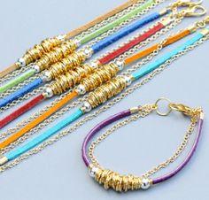 Chain Bracelet - Purple / Gold Chain and Links Bracelet Leather Jewelry, Wire Jewelry, Boho Jewelry, Jewelry Crafts, Beaded Jewelry, Jewelery, Handmade Jewelry, Jewelry Design, Leather Bracelets