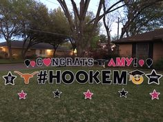 CONGRATS AMY! #HOOKEM Book Your Graduation Yard Greeting and make a BIG impression with DYG! Graduation Yard Signs, Grad Parties, Dallas, Amy, Book, Projects, Cards, Log Projects, Blue Prints