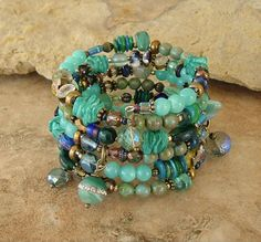 Boho Bracelet Deep Ocean Colors Layered Gemstone by BohoStyleMe