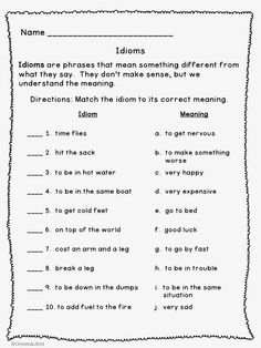 "idiom worksheet 3rd grade | The Best of Teacher Entrepreneurs: Language Arts - ""Idioms: Worksheets ..."
