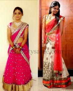 Pretty Half Sarees and Blouses | Saree Blouse Patterns