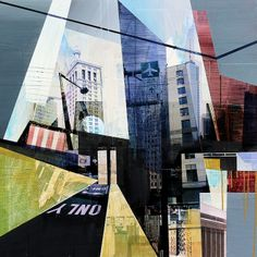 ARTFINDER: NYC Revisited  by Jon  Measures - Mixed media collage of digital prints and acrylic paint.   This is a reworking of a painting originally shown as simply NYC. NYC was made as part of the Ro...