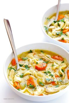 A kid favorite that doubles as a cold and flu fighting recipe: Rosemary Chicken Noodle Soup | Gimme Some Oven