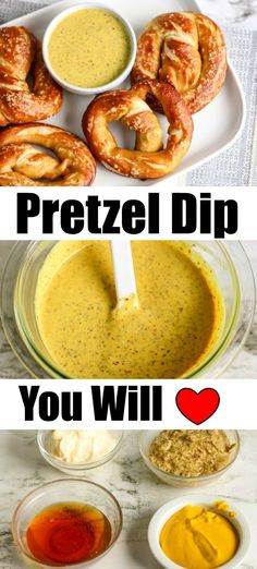 Beware - This Mustard Pretzel Dip Sauce is ADDICTING! - This mustard pretzel dip sauce has just 4 ingredients and is a salty sweet addition to your homemade soft pretzels. Beware, it is addicting! Pretzel Dip Recipes, Pretzels Recipe, Pretzel Dipping Sauce Recipe, Dip For Pretzels, Honey Mustard Pretzels, Honey Mustard Dip, Yummy Appetizers, Appetizer Recipes, Dinner Recipes