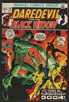 Daredevil VG+ Marvel Comic Black Widow Disciples of Doom Marvel Dc Comics, Marvel Comic Books, Heroes Comic, Marvel Vs, Marvel Heroes, Comic Book Pages, Comic Book Covers, Costume Rouge, Superhero Series
