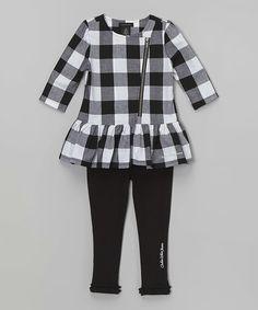 Calvin Klein Jeans Black Plaid Ruffle Tunic & Leggings - Infant & Girls | zulily