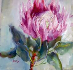 Two little protea pics Abstract Flowers, Watercolor Flowers, Watercolor Paintings, Art Paintings, Watercolours, Protea Art, Australian Wildflowers, King Art, Art Corner
