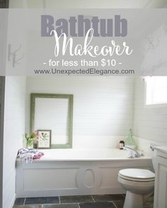 Do you have a large soaker tub that need a little update?  Check out this $9 solution for your bathtub makeover!
