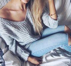 "perfectiontales: "" shefashionista: "" Grey Jumper Blue Jeans "" "" Instagram: @iam_evelina"