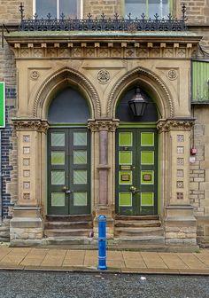 Huddersfield, West Yorkshire, England Yorkshire England, West Yorkshire, Green Doors, Open Door Policy, When One Door Closes, My Kind Of Town, Unique Doors, Door Knockers, Balconies