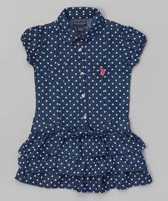 Blue+Polka+Dot+Button-Up+Dress+-+Toddler+&+Girls+#zulily+#zulilyfinds