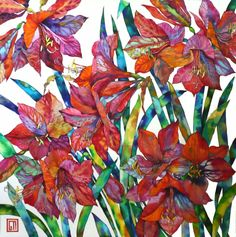 Sofia Perina-Miller/Red Amaryllis Watercolour and Pen 78 x 78 cm Watercolor Cards, Watercolor Flowers, Watercolor Paintings, Watercolors, Flower Paintings, Silk Painting, Art Floral, Floral Back Tattoos, Tinta China