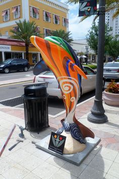 Sun Dance dolphin is located at 432 Cleveland Street in downtown Clearwater.  Sponsor:  Clearwater Downtown Development Board  Artist:  Terri Gray   Another beautiful addition to the Clearwater's Dolphins trail!