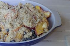 peach blueberry cobbler is so simple to make and the perfect way to savor summer.  No need to peel peaches