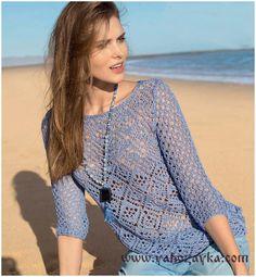 Пуловер из ажурных ромбов спицами. Легкий ажурный пуловер спицами описание   Я Хозяйка