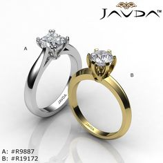A. Princess Diamond Engagement Ring Certified By GIA, K Color & SI1 Clarity, 14k White Gold. B. Round Diamond Engagement Ring Certified By GIA, I Color & SI1 Clarity, 14k Yellow Gold.