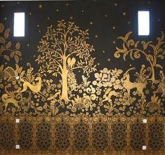 "Mural in the bedroom of Maryam Montague's Peacock Pavilions in Morocco. Maryam is author of the blog My Marrakesh. The mural is in her ""Room of the Golden Gazelles"" and was inspired by a screen designed by Armand Albert Rateau for Jean Lanvin's Paris Apartment. (via Purchase Worthy, July 13, 2010)"
