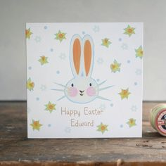 personalised easter bunny rabbit card by moobaacluck   notonthehighstreet.com