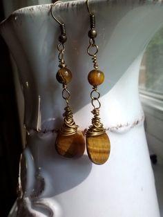 Solar Plexus Chakra Jewelry - Tigers Eye Wire Wrapped Earrings on Etsy, $16.54 CAD