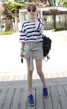 Miamasvin Retro Inspired Sunglasses, Miamasvin Oversized Stripe Tee, Miamasvin Stretch Mini Skirt With Jacket Sleeves, Nike Neon Sneakers
