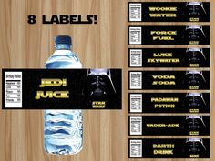 Star Wars Water Bottle Labels Star Wars Party by GraphicsByColton
