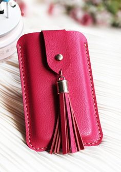 Handmade Genuine Leather Phone Case In Rose Red