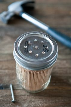 Mason Jar Toothpick Dispenser-- My Nanny always used baby food jars that were the perfect size.