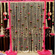 Offwhite tuberose n pink marigold artificial garland, Rajnigandha flower wedding decor, party backdrop photo booth decor, Mehendi decoration - Wedding - Cheap Wedding Flowers, Wedding Vases, Wedding Table Flowers, Boho Wedding, Trendy Wedding, Wedding Ideas, Wedding Ceremony, Table Wedding, Yellow Wedding