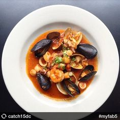 Sicilian seafood stew of scallops, shrimp, calamari, mussels and baby clams, wine, garlic and onion. This Cioppino from Catch 15 Restaurant Oyster Bar looks like perfection!