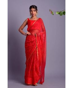 Red chiffon saree with blue bandhani bandej print all over . It will come stitched chiffon blouse with cotton line . It has a broad round neck without sleeves Shibori Sarees, Khadi Saree, Red Saree, Saree Dress, Shiffon Saree, Bandhini Saree, Indian Sarees Online, Red Chiffon, Blouse And Skirt