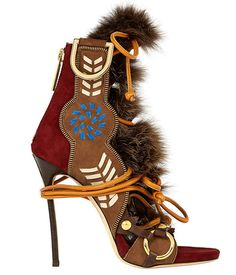 Dsquared² Eskimo chic leather sandals with fur details and leather heels