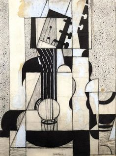 Still Life With Guitar (1912-13) by Juan Gris (Spanish, b.1887 d.1927)