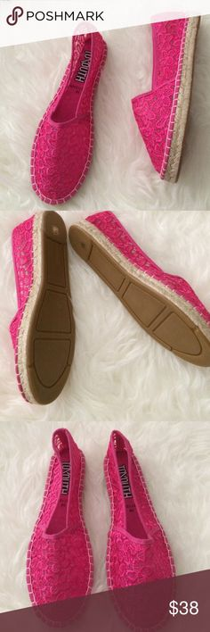 Brand new Pink Lace espadrilles Sz 38 / 8 No tags but brand new with dust bag. Never even tried on. So cute. Not Jeffrey Campbell, listed for exposure. Boutique label. Jeffrey Campbell Shoes Espadrilles