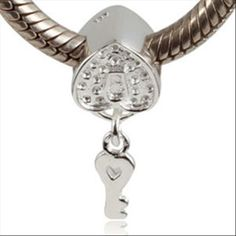 Key to Heart Love Lock  Fits Pandora Charms Europen Style Bracelets