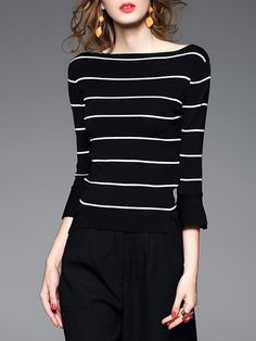 Shop Sweaters - Black Knitted Casual Bateau/boat Neck Stripes Sweater online. Discover unique designers fashion at StyleWe.com.