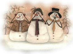 Hear No Evil, See No Evil ~ Fine-Art Print - Christmas Art Prints and Posters - Christmas Pictures Christmas Signs, Christmas Snowman, Winter Christmas, Christmas Crafts, Christmas Ornaments, Frosty The Snowmen, Cute Snowman, Snowman Crafts, Snowman Pics