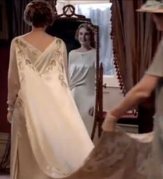 Embroidery on the back of Lady Edith's wedding dress.