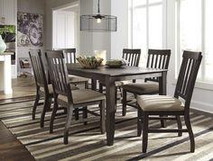 Dresbar - Grayish Brown - Rectangular Dining Room Table & 6 UPH Side Chairs