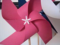 Nautical Paper Pinwheels. Pink White & Navy Blue. by KlipsNscraps