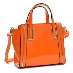 Dasein Faux Patent Leather Winged Tote Satchel ($51) ❤ liked on Polyvore featuring bags, handbags, tote bags, satchel purse, satchel tote, orange tote, dasein purses and satchel bags