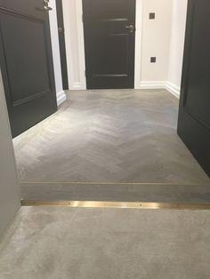 Foyer Flooring, Flooring For Stairs, Floor Design, Tile Design, House Design, Tile To Wood Transition, Wood Floor Pattern, Herringbone Tile, Interior Decorating