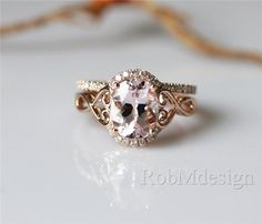 14K Rose Gold Engagement Ring Set1.65ct Oval Cut by RobMdesign